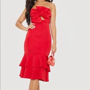 NWT Red Bow Detail Frill Hem Midi Dress